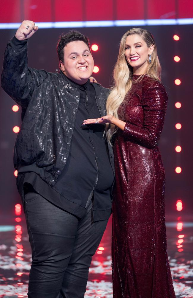 Kelly and Goodrem share their winning moment on stage. Picture: Supplied / Channel 9