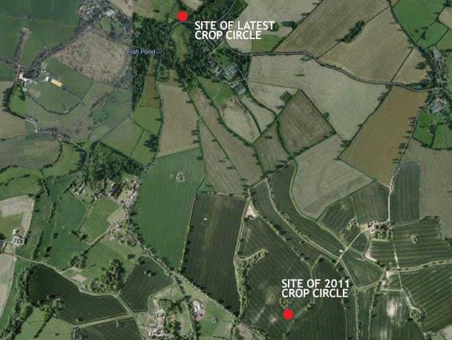 The discovery is less than a kilometre from a crop circle found in 2011.