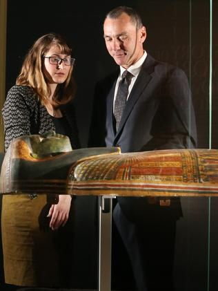 Mat Trinca and the British Museum's Belinda Crerar with the coffin of Shepenmehyt. Picture: Gary Ramage