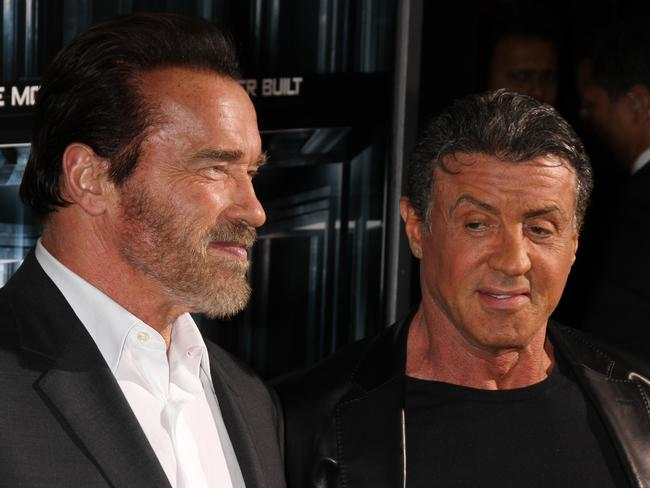Frenemies ... Arnold Schwarzenegger and Sylvester Stallone at the New York City premiere of The Escape Plan.