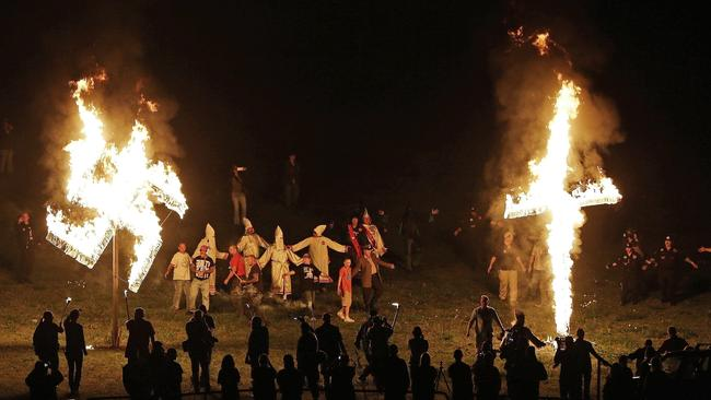In this April 23, 2016 file photo, members of the Ku Klux, Georgia. Picture: AP Photo/Mike Stewart