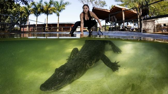 Lawrence with the alligator. Picture: Caters.