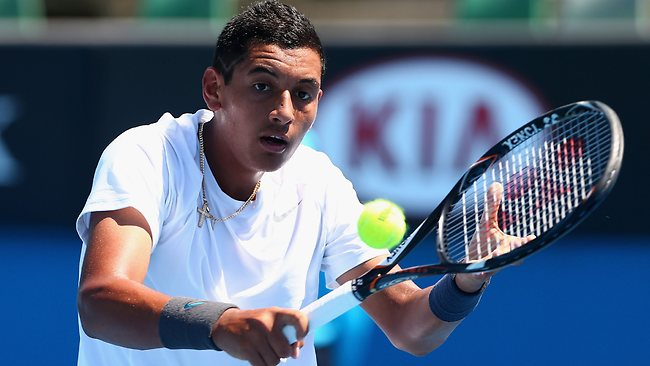 Nick Kyrgios is through to the semi-finals of the Australian Open boys' singles.