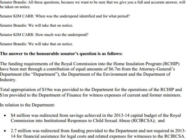 A screen grab from the Attorney-General's online response.