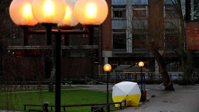 The bench, covered by a protective tent, at The Maltings shopping centre in Salisbury, where the father and daughter were found. Picture: Adrian Dennis/AFP