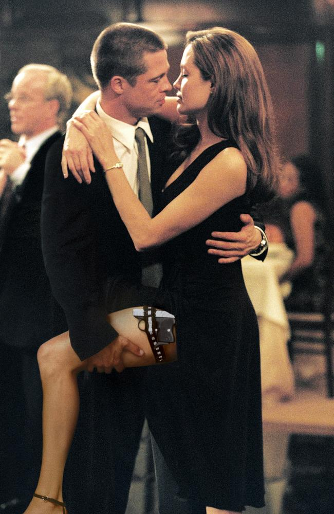 Angelina Jolie and Brad Pitt met on the set of  <i>Mr & Mrs Smith</i>, while he was still married to Jennifer Aniston. Picture: AP/Twentieth Century Fox/Stephen Vaughn
