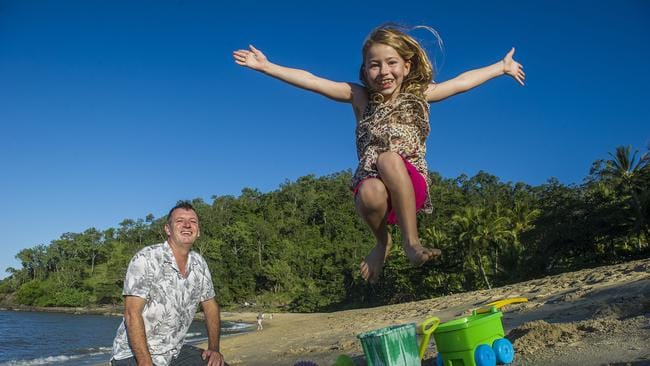 Professor Michael Bird of James Cook University with daughter Maddie, 7, in Cairns.