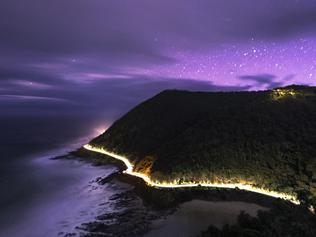 Photographer Josh Beames amazing photograph from Teddys Lookout on the Great ocean Rd of the Aurora Australis on Saturday night.
