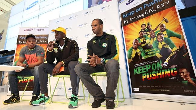 In their corner ... Usain Bolt appears on a promotional poster with the Jamaican bobsled team.