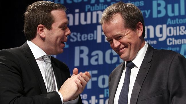 Sharing a laugh ... Paul Howes and Bill Shorten at the AWU National Conference last year. Picture: Lyndon Mechielsen.