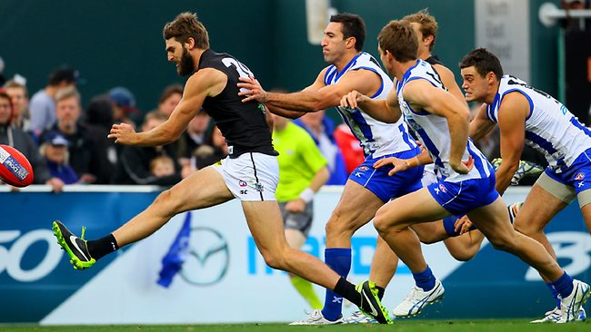 Port's Justin Westhoff snaps unsuccessfully for a goal Picture: Luke Bowden