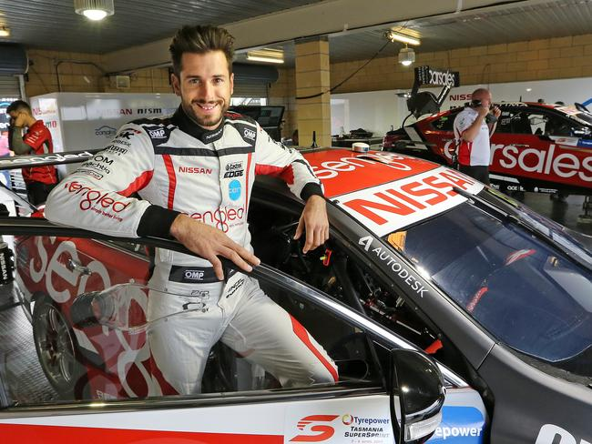 Rick Kelly suffered minor leg in juries in the 12-car pile-up at Symmons Plains. Picture: Chris Kidd