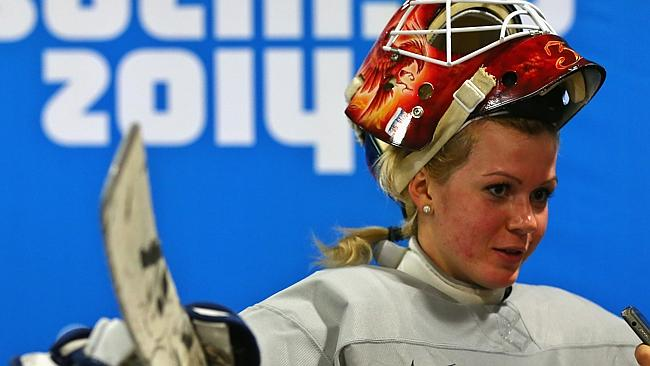 Anna Prugova in action for Russia's ice hockey team..