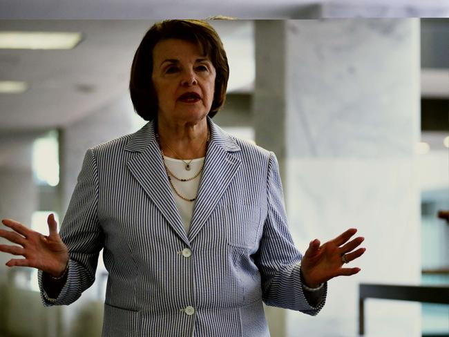 Off-side ... Chairman of Senate Intelligence Committee Senator Dianne Feinstein gestures as she arrives at a closed briefing on Capitol Hill in Washington, DC. CIA Director John Brennan had apologised to the leaders of the committee after the agency's inspector general found its officers inappropriately searched a computer network that was used by committee staff for the report of its interrogation program. Source: AFP