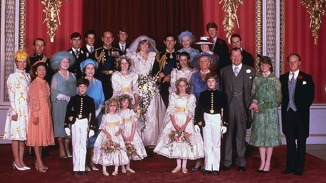 Eighties fashion: Charles and Diana pose with family and guests on their wedding day in in 1981. Picture: AP
