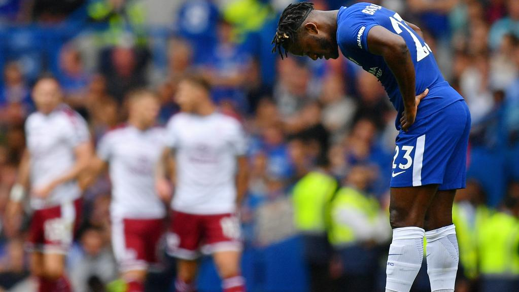 Michy Batshuayi of Chelsea is dejected after Burnley score