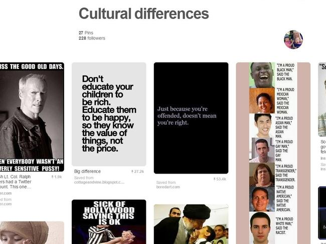 Haters say this Pinterest board is more evidence of Ms Papini's racism