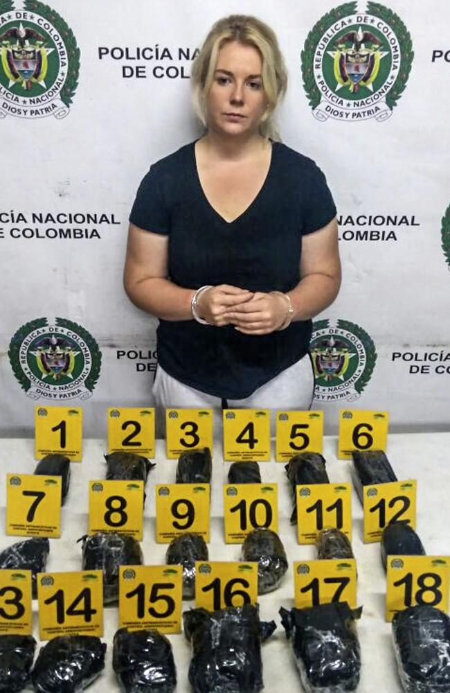 Cassie Sainsbury was arrested at the El Dorado International Airport in Bogota in April after 5.8kg of cocaine was found in her luggage. Picture: AFP/Colombia's Antinarcotics Police
