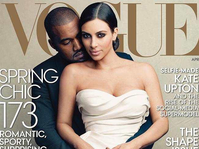 Kimye cover...Kardashian said her Vogue cover was the first time the fashion bible had featured a reality star, a rapper or an inter-racial couple on the cover. Picture: AP/Vogue, Annie Leibovitz)