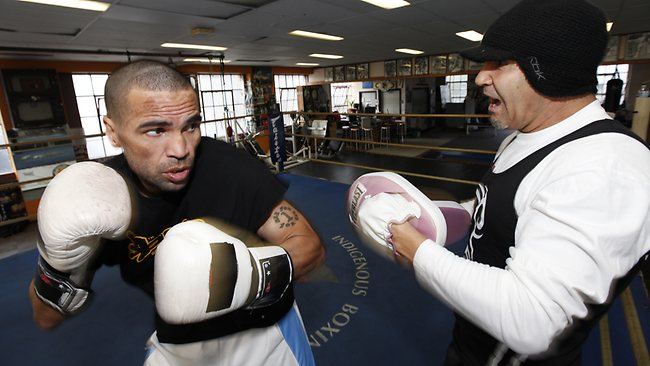 SPLIT in the camp: Anthony Mundine trains with Jeff Fenech before the fallout from the Mosley fight farce.