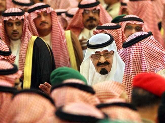 In 2005, the new Saudi King Abdullah bin Abd al-Aziz receives condolences after succeeding his half brother King Fahd, known as a big spender.