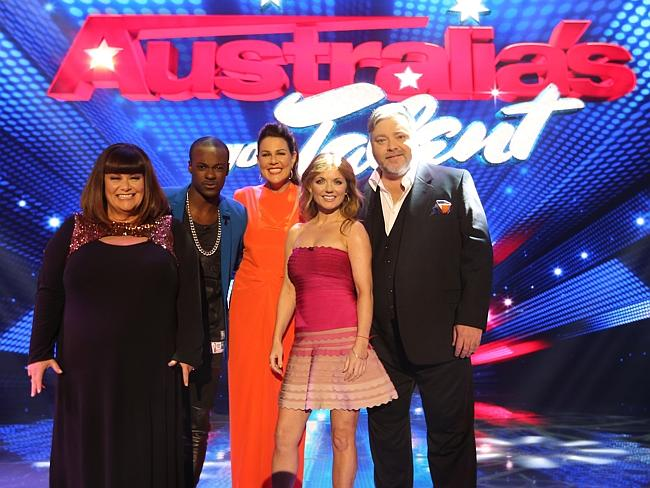 Dawn French, Kyle Sandilands, Timomatic and Geri Halliwell on set of the first live show