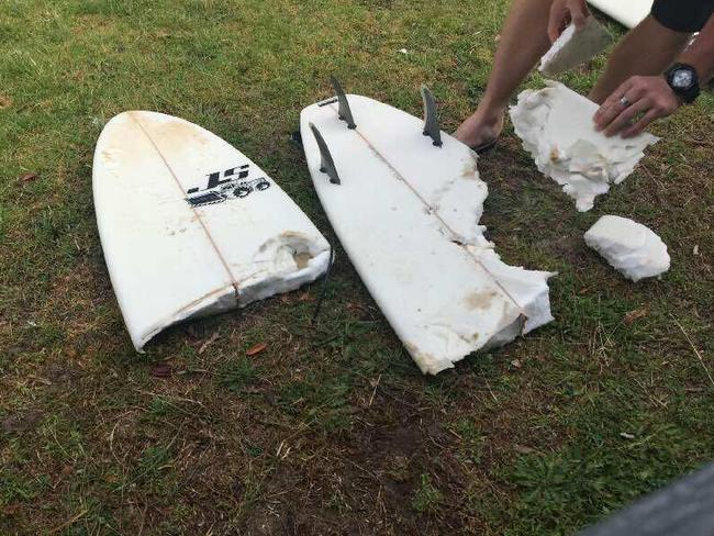 The board of the 65-year-old man attacked by a shark near Forster. Picture: Benny Godwin/Facebook
