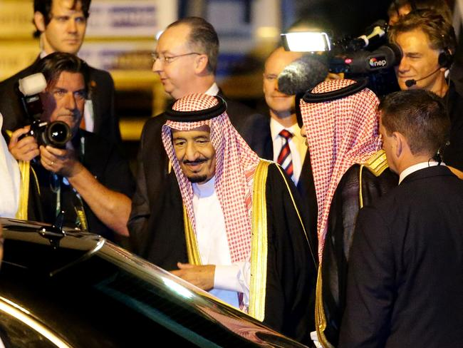 Leaders arrive ... Crown Prince Salman bin Abdulaziz Al Saud of Saudi Arabia arrives in Brisbane for the G20. Picture: Darren England