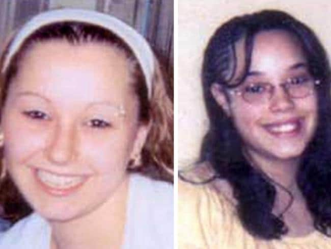 "Sickening similarities ... Amanda Berry, left, and Georgina ""Gina"" Dejesus were tied up at Ariel Castro's 'house of horrors' in Cleveland, Ohio and held there since they were in their teens or early 20s. Pic: FBI"
