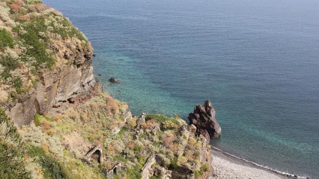 The rugged coastline of the Aeolian Islands in Italy.