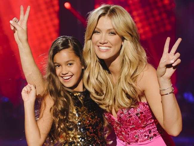 The Voice Kids Grand Finale Winner Alexa with her coach Delta Goodrem.