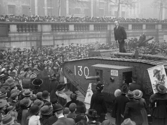 A man standing on top of a tank in Trafalgar Square and speaking in favour of war bonds in 1917. Picture: Topical Press Agency