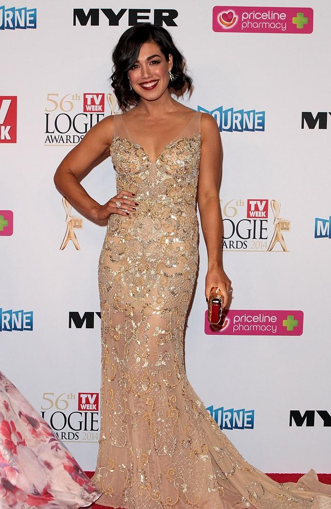 Melanie Vallejo arrives at the 2014 Logie Awards at Crown Palladium