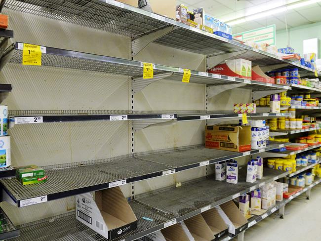 Empty shelves at Woolworths in the town centre.