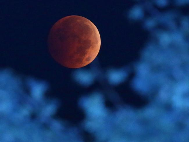 Earth's shadow ... the moon during a total lunar eclipse over Milwaukee. The moon appears orange or red, the result of sunlight scattering off Earth's atmosphere. Picture: AP Photo/Milwaukee Journal-Sentinel, Mike De Sisti