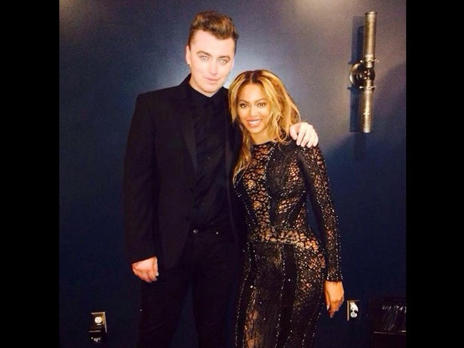 "Behind The Scenes 2014 MTV VMAs... Sam Smith pictured with Beyonce posts, ""You're gonna wanna open this..."" Picture: Twitter"