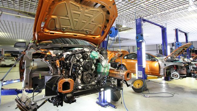 An engine install on a GTS-R W1 on one of the final days of production at HSV Clayton. Picture: Joshua Dowling.