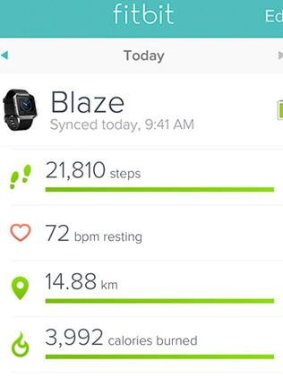 Ruan Sims' Fitbit Blaze from one of her training sessions.