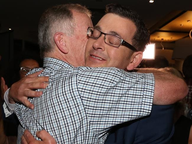 Victorious: New premier Daniel Andrews celebrated with supporters. Picture: Alex Coppel.