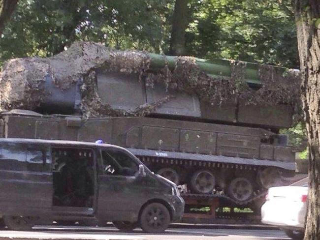 This photo from an anonymous source provided by the Dutch Public Prosecution's Office (OM) and Joint Criminal Investigation Team (JIT), shows a BUK-Telar missile launching system probably taken on July 17, 2014, in the town of Makeevka, Ukraine. Picture: JIT via AP