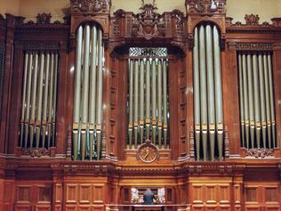 Calvin Bowman playing the newly restored Grand Pipe Organ at Melbourne Town Hall.