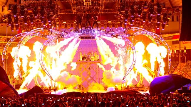 Masters of excess ... Aussie fans will be thrilled by the Kiss Spider Tour.