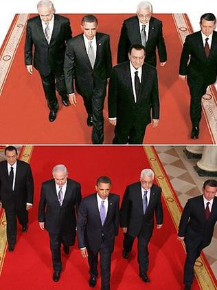 Egypt: State-run newspaper Al-Ahram was outed in September 2010 for altering a photograph to suggest President Hosni Mubarak was leading the Middle East peace talks. Al-Ahram showed Mr Mubarak ahead of US President Barack Obama, when the orginal shows Mr Obama ahead and Mr Mubarak trailing.