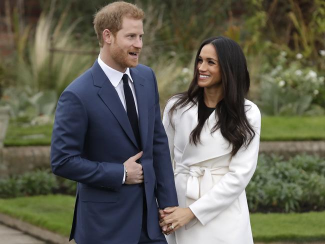 Meghan Markle and Prince Harry at Kensington Palace. Picture: AP/Matt Dunham