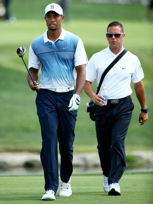 Tiger Woods (left) walks with golf instructor Sean Foley at Valhalla Golf Club in Louisville, Kentucky. Picture: Andy Lyons