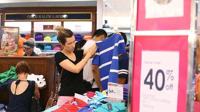 Boxing Day Sales period ... The crowds and queue at Myer.