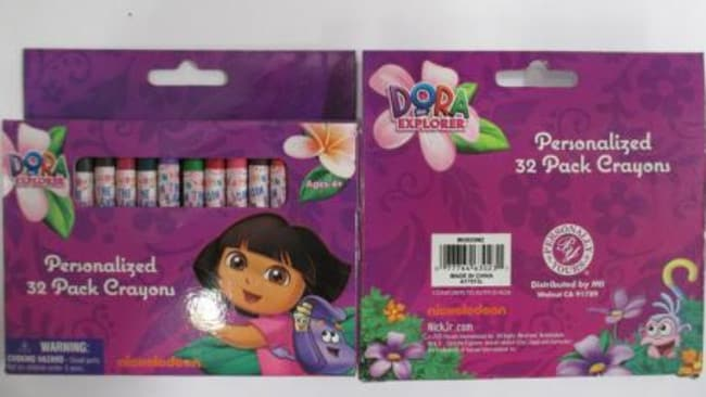Chuck them ... Dora the Explorer crayons found with asbestos. Courtesy: ACCC