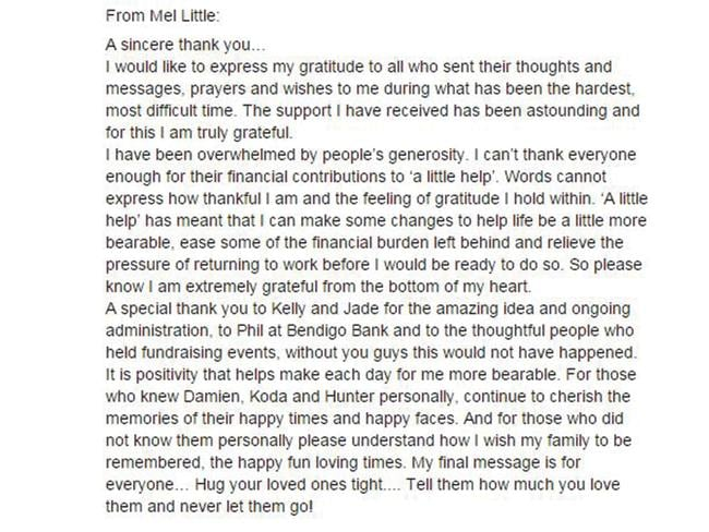 "The full message left on Facebook page ""A Little Help""."