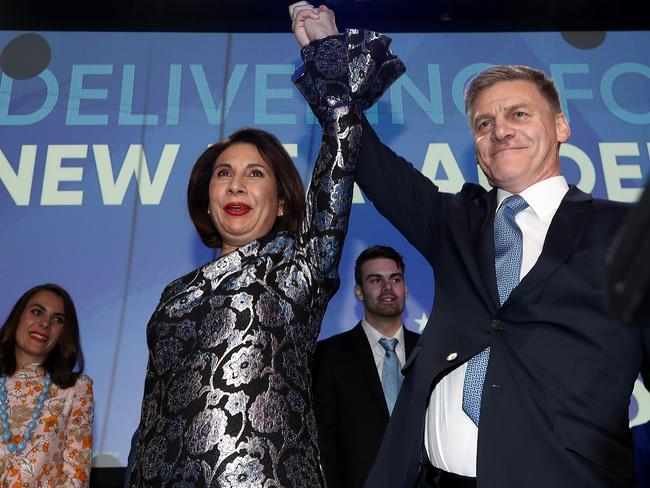 National Party Leader Bill English and his wife Mary English greet supporters at Sky City in Auckland, New Zealand. Picture: Getty