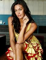 <p>Megan Gale modelling Queensland fashions at the W Hotel, Wolloomooloo in Sydney in 2005.</p>
